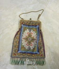 Antique Fabulous Deco Persian Rug Micro Beaded Purse