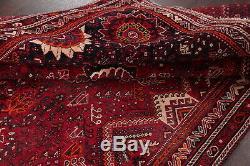 Antique Geometric Tribal Red Kashkoli Qashqai Oriental Area Rug Wool 7'x10