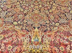 Antique Handmade Wool Rug 9 x 12 Fringe Blue Red Yellow Intricate Fringe Carpet