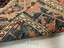Antique Jozan Rug 144x110 cm Vintage Carpet, small, Navy, Red