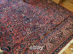 Antique Large Sarouk Oriental Rug 9x12 c1900-1920