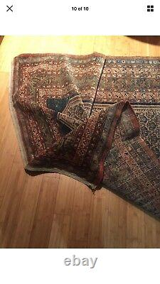 Antique Persian Malayer rug lovely distressed WORN estate carpet AS IS Pictorial