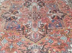 Antique Serapi Heriz rug Persian carpet circa 1940 wool vintage geometri 8 x 11