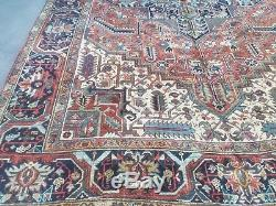 Antique Serapi Heriz rug Persian circa 1940 wool vintage geometri 8'2 x 11'7