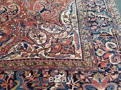 Antique Serapi Heriz rug Persian circa 1950, s wool vintage geometric 10'×13