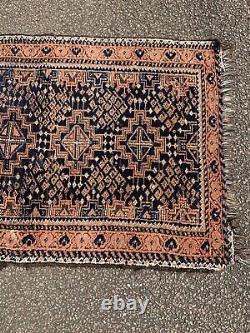 Antique Vintage Persian Blue Orange Rectangular Runner Carpet Rug 129cm X 79cm