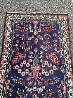 Antique Vintage Persian Blue Red Ground Runner LONG LARGE Carpet Rug 16ft X 3ft