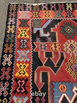 Antique Vintage Persian Kilim Carpet Rug Black Red LARGE 310cm X 195cm Aztec