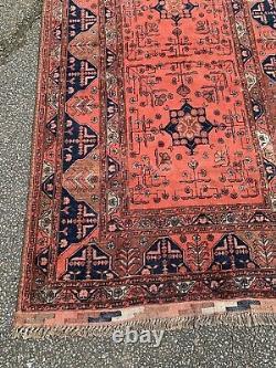 Antique Vintage Persian Orange Blue Ground Rectangular Carpet Rug 210cm X 125cm
