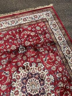 Antique Vintage Persian Silk Red Ground Rectangular Carpet Rug 239cm X 157cm