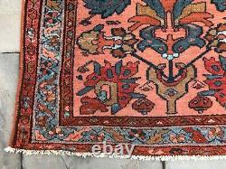 Authentic Antique Oriental Rug Lilihan Design Wool Pile, Pink Sarouk Lilihan
