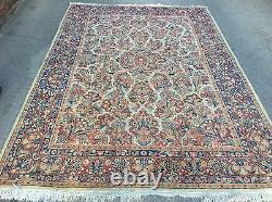 Authentic Antique Sarouk Oriental Rug Hand Knotted Floral 9' X 6' 3