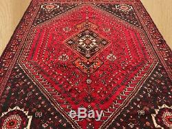 Authentic Hand Knotted Vintage Persian Shiraz Shirazi Wool Area Rug 10 x 7 Ft