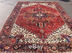 Authentic Vintage Persian Heriz Oriental Rug Hand Knotted Wool Nr