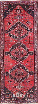 Bakhtiari 4x10 Wool Hand-Knotted Geometric Oriental Runner Rug Vintage