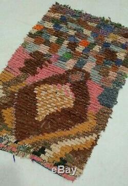 Boucherouite rug 3x5 Moroccan Berber Vintage Rug, Morocco Carpet tribal teppich