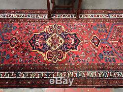 Exquisite 3.5x16 Vintage Persian Runner Rug Red Kitchen Rug Hallway Rug c. 1940s