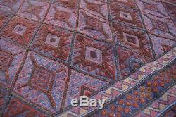 F1384 Vintage Handmade Afghan Tribal Mishwani square Kelim Persian Rug 5'4 x 6FT