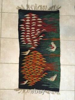 Folk Art Hand Knotted Vintage Kilim Weaving Rug / Wall Tapestry Wissa Wassef