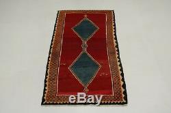 Geometric Handmade Vintage Rare Size Signed Persian Rug Oriental Area Carpet 4X8