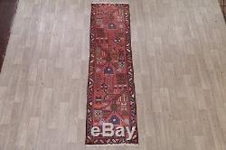 Geometric Vintage Narrow 2x9 Wool Nahavand Hamedan Persian Oriental Runner Rug