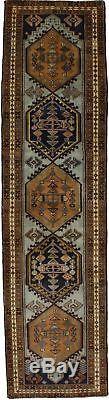 Geometric Vintage Narrow Ardebil Runner Persian Rug Oriental Area Carpet 2'5X9'5