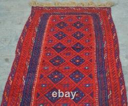 H105 Fine Quality Afghan Vintage Mishwani Kilim Runner, Antique Rug 2'4 x 10' Ft
