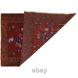 Hand Knotted Vintage Afghan Wool Carpet (130 x 93)cm, Oriental Area Rug -11327