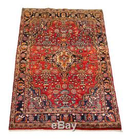 Hand-knotted Carpet 4'4 x 6'9 Traditional Vintage Wool Rug