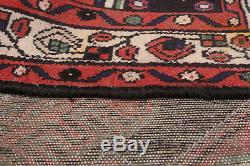 Hand-knotted Persian Vintage Dark Navy, Red Wool Rug 3'7 x 10'9
