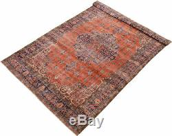 Hand-knotted Turkish 6'8 x 10'5 Anatolian Vintage Wool Rug. DISCOUNTED