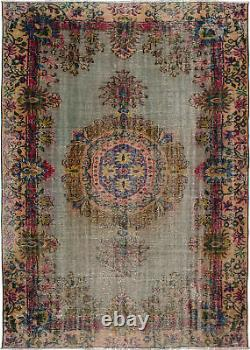 Hand-knotted Turkish Carpet 6'3 x 8'11 Antalya Vintage Wool Rug. DISCOUNTED