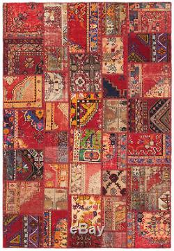 Hand-knotted Vintage Anatolia Patch Carpet 6'8 x 9'10 Dark Red Wool Rug