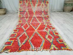 Handmade Moroccan Vintage Carpet 3'5''x8'2 Geometric Red Yellow Berber Wool Rug