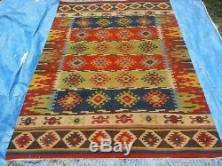 Handmade Vintage Afghan Tribal Maimana Afghan Large Area Kilim Rug 6x9 ft