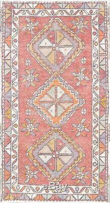 Handmade Vintage Geometric Anatolian Turkish Wool Small Area Rug 2x3
