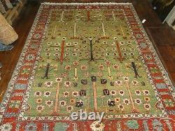 Handmade Vintage Oriental Green Persian-carpet, 3.40m x 2.40m