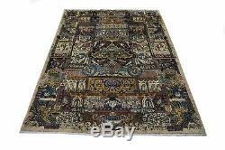 Handmade Vintage Pictorial Signed Kashmar 10X13 Persian Rug Oriental Home Carpet