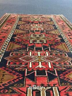 Heriz Hand Knotted Vintage Geometric Area Rug Runner Carpet 3'5x510, #1348