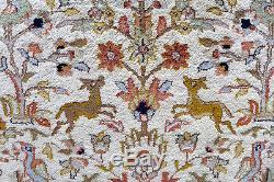 Indo Persian Rug 8x10 Wool Handmade Vintage Animals