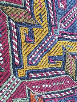 Jajim Vintage Handembroidered Kilim Rug, Flat weaving Square Home Decor Kelim