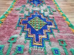 Moroccan Handmade Runner Rug Bohemian Berber Vintage Rug 3'3 x 8'7 Area Rugs