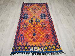 Moroccan Handmade Vintage Carpet 3x6'5 Geometric Red Blue Yellow Berber Wool Rug