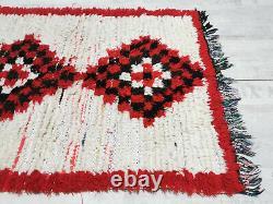 Moroccan Handmade Vintage Rug 2'2x7'2 White Red Geometric Berber Wool Carpet