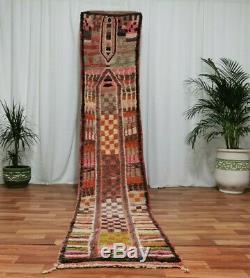 Moroccan Handmade wool Runner Rug 2'x11' Bohemian Berber Red Carpet Vintage Rug