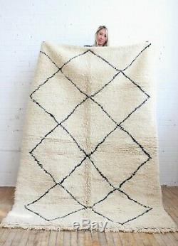 Moroccan RUG Morocco Beni Ourain knotted carpet 100% wool Handmade 6ftx8ft