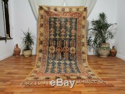 Moroccan Vintage Handmade rug Bohemian Berber Rug 4'9 x 8'8 Taznakht tribe rug
