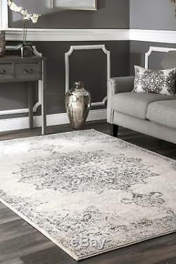 NuLOOM NEW Traditional Vintage Medallion Distressed Area Rug in Ivory and Gray