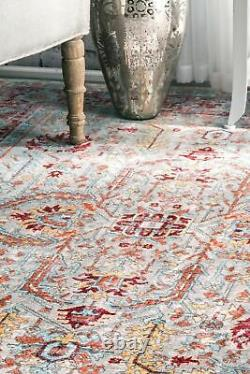 NuLOOM Traditional Vintage Area Rug in Red, Blush Pink, Blue Multi