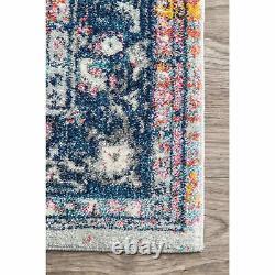 NuLOOM Traditional Vintage Floral Star Area Rug in Blue, Pink, White, Pink